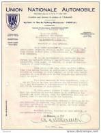 PARIS - UNION NATIONALE AUTOMOBILE - LETTRE - 1934 - Cars