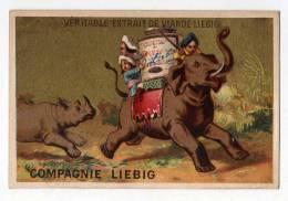 Chromo Liebig Dorée S 123 Testu & Massin Aventure D'un éléphant Fuite Course Poursuite Rhinocéros Animal Cornac - Liebig