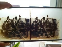 Lot De 3 Photo Stéréoscopiques En Verre (militaire, Cathédrale Et Autre) - Glass Slides