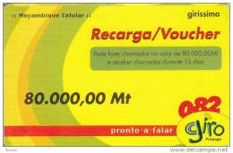 Mozambique, 80.000,00Mt, Giro Recharge Card, 2 Scans.  Expiry : 31/12/2005 - Mozambico
