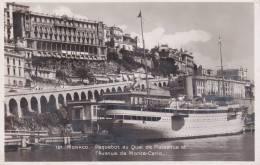 CPA MONACO, Paquebot Au Quai De Plaisance Et Av. De Monte-Carlo.( 1933 ) - Monaco