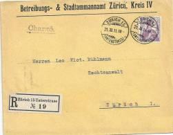 R-Brief  Zürich Unterstrass - Zürich           1911 - Briefe U. Dokumente