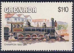 "Grenada 1984 Mi 1330 YT 1202 Sc 1237 ** Lok ""Champion"" (1882) /  Lokomotiven - Treinen"