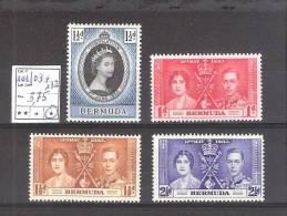 Bermudes( Col. G-B) :  N°101/03 + 132 *    Cote Yvert : 3,75 €. Trace De Charnière Très Légère! - Bermudes