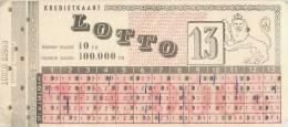 BILLET DE LOTO LOTTO TAMBOLA LOTERIE BELGIQUE JEU - Billets De Loterie