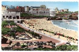 Cpsm 64 - Biarritz - La Grande Plage Et Les Deux Casinos - 1958 (9x14 Cm) - Biarritz