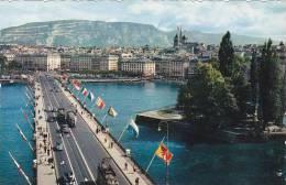 Schweiz Geneve L'Ile J J Rousseau et le Pont du Mont Blanc