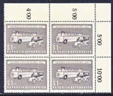 Austria 617 X 4  **  POSTAL SERVICE - Blocks & Sheetlets & Panes