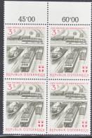 Austria 661  X 4  **  TRAIN - Blocks & Sheetlets & Panes