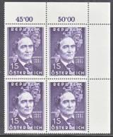 Austria 682  X 4  ** - Blocks & Sheetlets & Panes