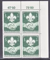 Austria 684  X 4  **  SCOUTING - Blocks & Sheetlets & Panes