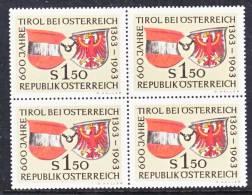 Austria 708  X 4  **  ARMS  TIROL - Blocks & Sheetlets & Panes