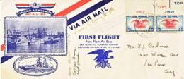 U.S.  FIRST FLIGHT  SIGNED  FLEET AIR BASE  TUNA  ADS. - Air Mail