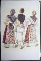 Yougoslavie Litho Femme Femmes Danse Danseuses Croates Vladimir Kirin Folklore Costume Robe Voyagé 1966 Biograd Timbre - Yougoslavie