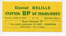 Ref AUTO 4 :   Autocollant  Sticker Station Essence BP Daniel DELILLE Canlt Arsy Compiegne - Stickers