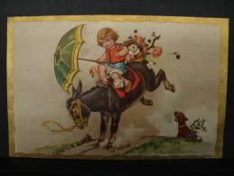 CP. 3004. Castelli. Enfant Sur Un âne Avec Chien Derrière. - Castelli