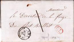 MAYENNE - 1857 - LETTRE De LA NOE GAUTHIER (LA GRAVELLE) Avec TAXE MANU De 1 DECIME + CL CORRESPONDANCE LOCALE - Marcofilia (sobres)