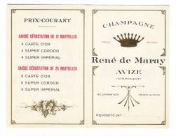 """MARNE  /  AVIZE , Près  EPERNAY  /  CHAMPAGNE  """" RENE  DE  MARAY """"  /  Carte De Visite Publicitaire  ( Années 30 ) - Cartoncini Da Visita"""