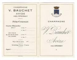 """MARNE  /  AVIZE , Près  EPERNAY  /  CHAMPAGNE  """" VICTOR  BAUCHET """"  /  Carte De Visite Publicitaire  ( Années 30 ) - Cartoncini Da Visita"""