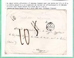 1853 - ENVELOPPE De PARIS (ROUTE N°20) Pour CHOUPPEY (VIENNE) -TAXE MANU De 11 DECIMES BARREE PUIS 10 DECIMES (1 FRANC) - Marcophilie (Lettres)
