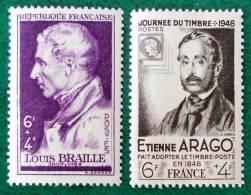 LOUIS BRAILLE ET ETIENNE ARAGO 1948 - NEUFS ** - YT 793/94 - MI 808 + 812 - France