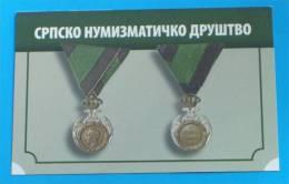 SERBIAN NUMISMATIC SOCIETY ( Small Calendar ) Serbe Numismatic Society  * Order - Medal *  Petit Calendrier - Calendars