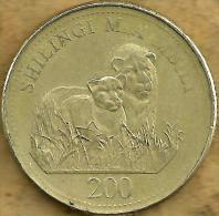 TANZANIA 200 SHILLINGI LIONS ANIMAL FRONT MAN HEAD BACK 1998 AVF KM? READ DESCRIPTION CAREFULLY !!! - Tanzanie