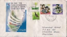 South Korea, Airmail Cover To Pakistan, Stamps, Cartoon, Comic, Bird, Plant Medical  (5611) - Korea (Zuid)