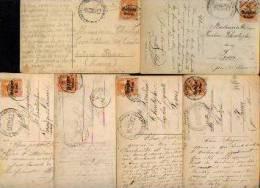 Lot De 6 CV Ayant Circulé (1917/8) De SAINT-MEDARD à FOSSES (cachet Sde Censure  Allemande De BERTRIX) - Andere