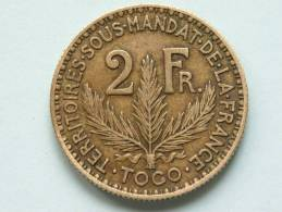 1925 - 2 FRANC / KM 3 ( Uncleaned - For Grade, Please See Photo ) ! - Togo