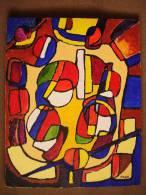 Tableau Acrylique Sur Toile Cubiste  Bal De 14 Juillet  50,5cm X 40,5cm - Acrilici