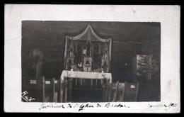 Intérieur De L´Eglise De Castor Janvier 1911 - Sapins Et Décoration De Noel - Canada - Rare Carte Photo Signée H De V - Alberta