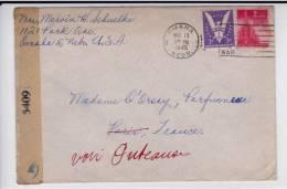 1945 - USA - ENVELOPPE De OMAHA Avec CENSURE - ADRESSE à PARIS TRES SUCCINTE !!! REEXPEDIEE à PUTEAUX Après RECHERCHE ! - WW II