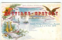 SUISSE - GENEVE - Concours De Musique 1902 - Cythare + Flute + Trompette Et Aigle - Ecusson Blason - Schweiz - Dos Scané - GE Genève