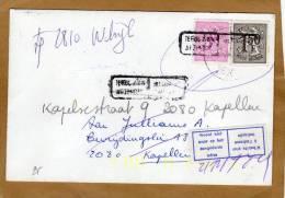 Enveloppe Cover Brief Retour à L´envoyeur + Vignette N´habite Plus à L´adresse Indiquée - 1951-1975 Lion Héraldique