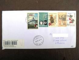 Cover Sent From Romania To Lithuania, Registered Insect Fruits Leonardo Da Vinci Church - Brieven En Documenten