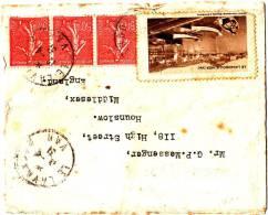 Jolie Lettre Bloc De 3 Semeuse Avec Vignette Du Lavandou Peu Commune 1931 Pour L'Angleterre - 1921-1960: Moderne