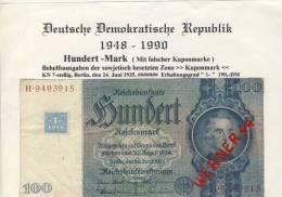Deutsche Demokratische Republik V. 1948 -- 100 Mark Mit Kupon (996) - [ 6] 1949-1990 : GDR - German Dem. Rep.