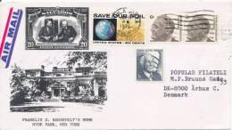 USA Cover Sent To Denmark Chula Vista CA. 11-1-1971 With Cachet Franklin D. Roosevelt's Home Hyde Park N. Y. - Storia Postale