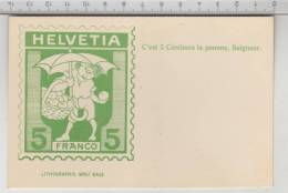 Helvetia - C'est 5 Centimes La Pomme, Seigneur - Lithographie Wolf, Bâle - Timbres (représentations)