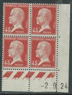 France N° 175 XX Type Pasteur : 45 C. Rouge En Bloc De 4 Coin Daté Du  2 . 9 . 24, Sans Charnière,TB - Coins Datés