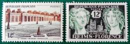 LE GRAND TRIANON A VERSAILLES ET REIMS-FLORENCE 1956 - NEUFS ** - YT 1059 + 1061 - MI 1087 + 1089 - France