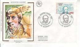 FRANCE PREMIER JOUR FDC 1989 Augustin Cauchy Sceaux - FDC