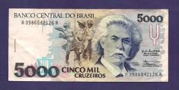 BRASIL ,  Banknote,  Used VF, 5000 Cruzeiros - Brazil