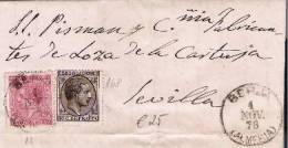 Spk050//  - SPANIEN - Berja (Almeria) 1878 Nach Sevilla, Edifil 168,  Mit Kriegssteuer E.13 - Cartas