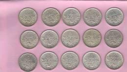 LOT DE 15 PIECES 5 FRANCS SEMEUSE ARGENT ROTY 1960 A 1964 - J. 5 Francs