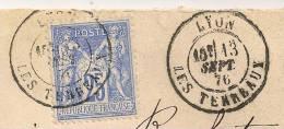 25c Outremer LUXE, Lyon LES TERREAUX Sur Enveloppe SAGE. - 1876-1898 Sage (Type II)