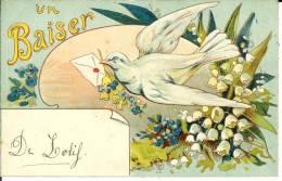 CPA  Illustration Un Baiser Colombe Blanche  6802 - Fantasia