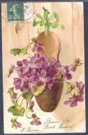 CPA PRECURSEUR - SABOT ACCROCHE RUBAN FLEURS VIOLETTES - Fleurs, Plantes & Arbres