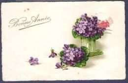 FLEURS - VIOLETTES - BONNE ANNEE - - Fleurs, Plantes & Arbres